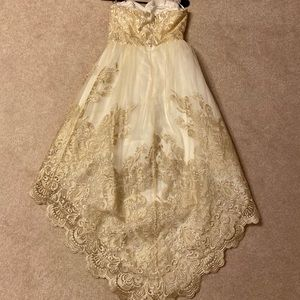 Gold and off white evening dress.